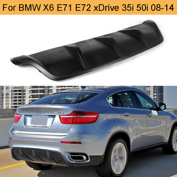FRP Black Car Rear Bumper Diffuser Lip Spoiler for BMW X6 E71 E72 2008 - 2014 xDrive 35i 50i Black FRP Bumper Diffuser Spoiler image