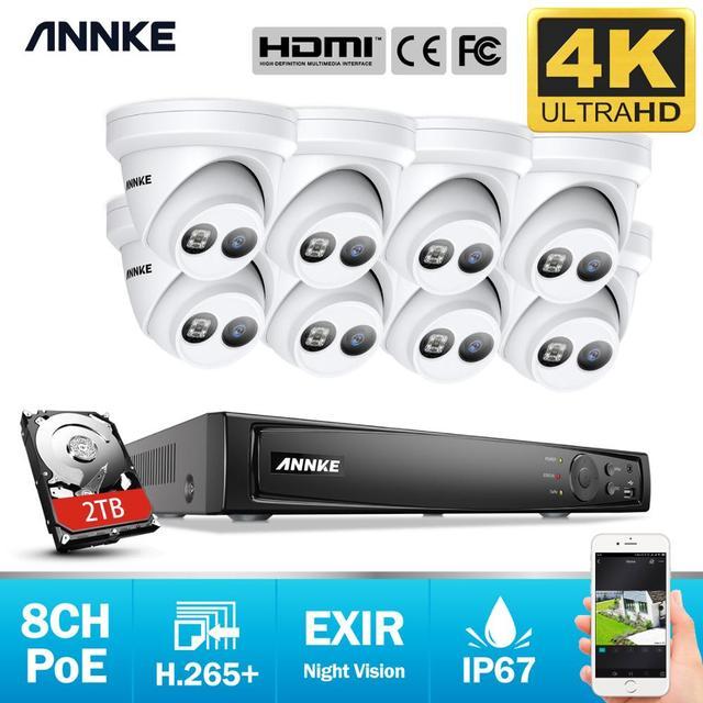 ANNKE 8CH 4K Ultra HD POE Network Video Sistema di Sicurezza 8MP H.265 + NVR Con 8pcs 8MP Resistente Alle Intemperie IP TELECAMERA a CIRCUITO CHIUSO di Sicurezza Kit