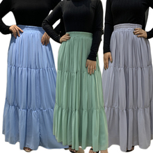 Spring Summer Muslim Pleated Skirt Women Vintage High Waist Skirt Solid Long Skirts New Fashion Casual A-line Maxi Skirt Female