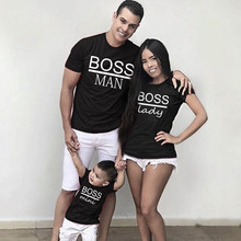 Ropa a juego con estampado de BOSS MAN y BOSS mini para mujer, camisetas familiares, trajes para padre, madre, hijo, aspecto familiar, Tops para mamá y papá