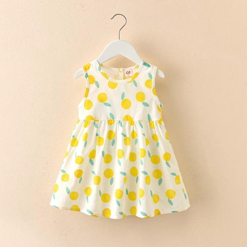 Детский хлопковый сарафан без рукавов, летнее милое платье-трапеция для маленьких девочек с фруктами, повседневная одежда для маленьких пр...