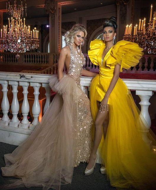 Puffy Prom Dresses vestido de fiesta Photography Shoot Ruffle Yellow Formal Prom Dresses Tulle Detachable Skirt Robe De Soiree 5