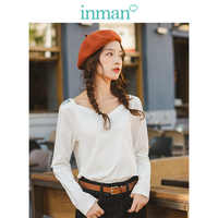 INMAN 2019 Autumn New Arrival Elastic Cotton Solid Minimalism All Matched Elegant Boat Neck Women T-shirt