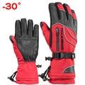 Лыжные перчатки ROCKBROS  термостойкие водонепроницаемые перчатки для катания на лыжах и сноуборде  зимние мотоциклетные перчатки с защитой от...