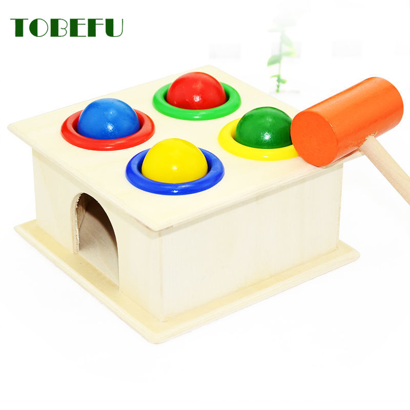 TOBEFU 1 Set Wooden Hammering Ball Hammer Box Children Fun Playing Hamster Game Toy Early Learning Educational Toys