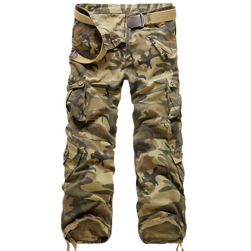 Men Cargo Pants High Quality Casual Loose Multi Pocket Camouflage Military Pants Men's street Joggers Plus Size 44 Long Trousers 4