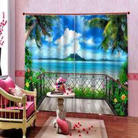 Azul da praia tamanho Personalizado de Luxo cortinas Blackout 3D Janela Cortinas Para Sala de estar