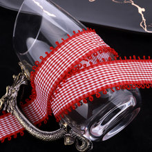 100yards 10 16 25 40mm double picot gingham tartan plaid ribbon for hair bow craft supplies accessories bouquet packing