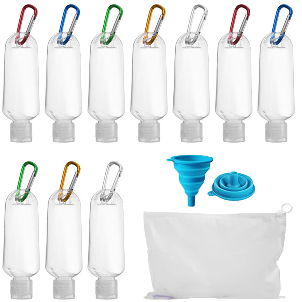 Прозрачный пластиковый дорожный брелок для ключей, портативный герметичный пополняемый контейнер с крышкой и сумкой, 10 шт., 50 мл