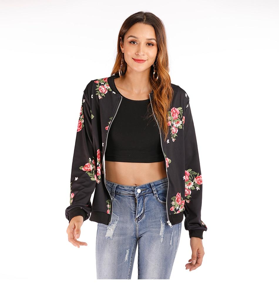 Print Bomber Jacket Women Flowers Zipper Up Retro Coat Spring Summer Long Sleeve Basic Plus Size Short Biker 33