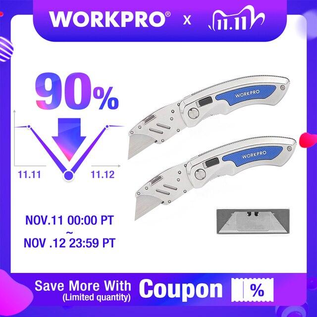 WORKPRO 2PC พับมีดยูทิลิตี้มีดเปลี่ยนใบมีดมีดสแตนเลสมีด 10PC ใบมีด