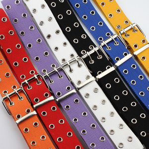 Unisex Canvas Belt Ladies Double Row Hole Pin Buckle Harajuku Buttonhole Men's Women Jeans Black and White Chain Belt 427