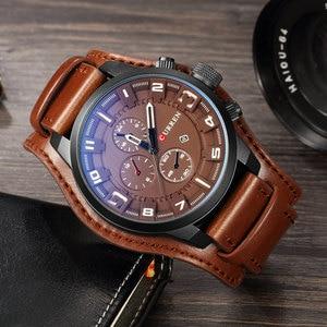 Image 2 - CURREN Top marka luksusowe męskie zegarki męskie zegary data Sport wojskowy skórzany pasek do zegarka kwarcowy biznesowy zegarek męski prezent 8225