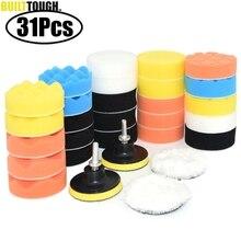 Tampons de polissage en mousse pour voiture, 31 pièces, polisseuse de voiture, adaptateur de perceuse M10, tampons tampons tampons de tampon de 3 pouces, éponge à cirer, ensemble de détails de voiture