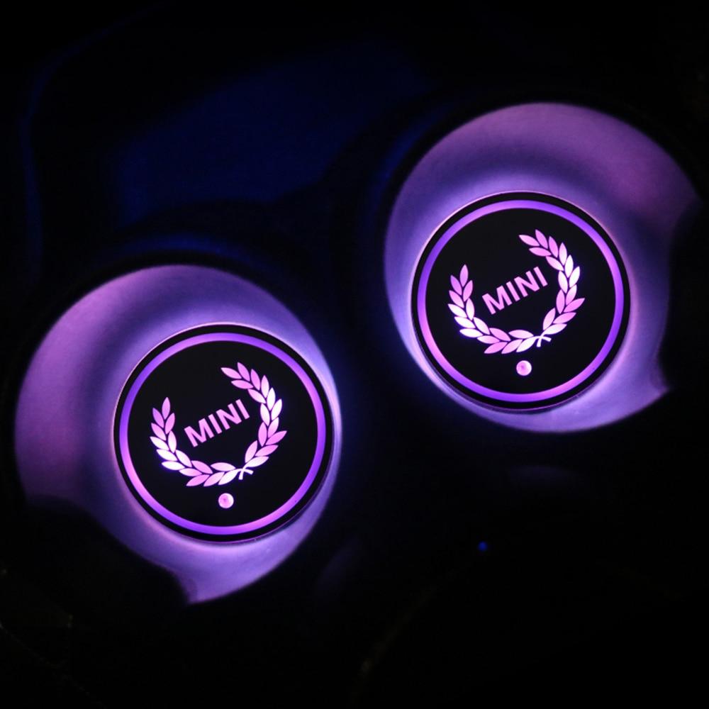 1pcs Auto LED Cup Mat Pad Anti-slip Coasters Interior Decor For Mini Cooper One S JCW R55 R56 R60 R61 F54 F55 F60 Accessories