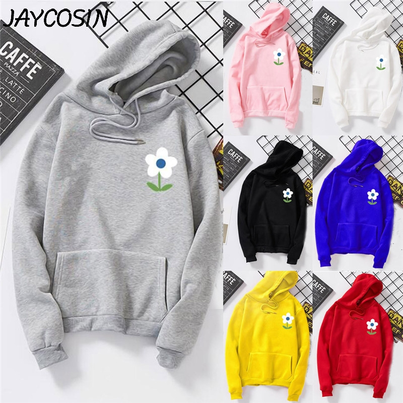 JAYCOSIN Women Sweatshirt Floral Print Solid Hooded Long Sleeve Sweatshirt Autumn Winter Casual Loose Sweatshirt Pullover Tops