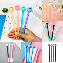цены 1pc Cat Pens Kawaii Cat Neutral Gel Pen Cute Black Ink Pens For School Office Writing Gifts Korean Stationery Promotional Pens