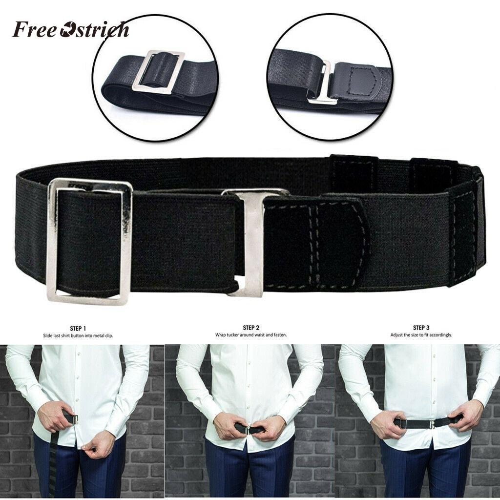 Free Ostrich Fashion Shirt Holder Adjustable Near Shirt Stay Best Tuck It Belt For Women Men Work Interview Black Color 120cm