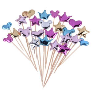 5PCs Love Happy Birthday Cake Toppers Crown Stars Cupcake Topper Flags For Wedding Kids Birthday Party Supplies Cake Decoration(China)