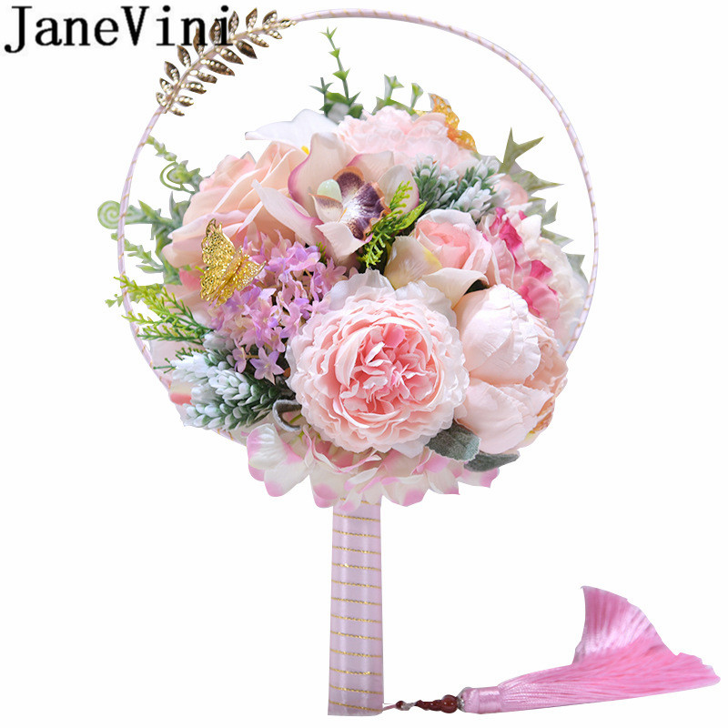 JaneVini Fleur Rose Peony Bridal Fan Artificial Red Pink Flower Wedding Bouquet Chinese Style Silk Hollow Hand Fan Type Bouquets