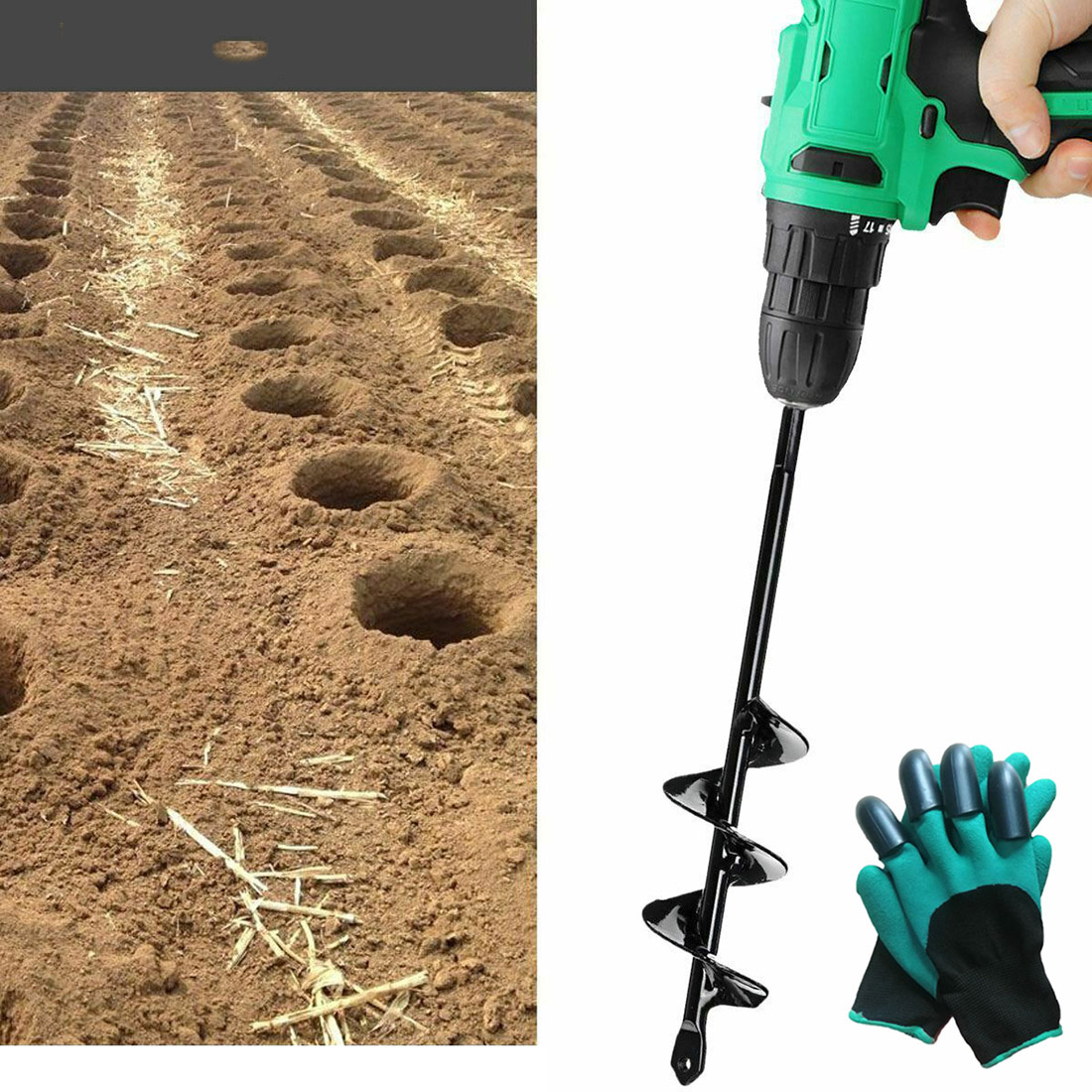 """30/"""" Planting Auger Spiral Hole Drill Bit For Garden Yard Earth Bulb Planter"""