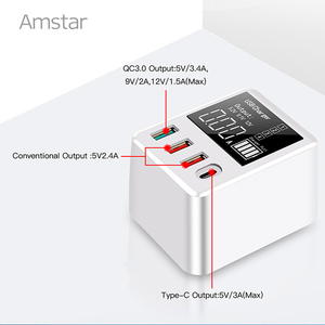Image 2 - Amstar cargador USB tipo C para iPhone, Samsung, Huawei, adaptador de pared de viaje, carga rápida 3,0, 30W, pantalla LED