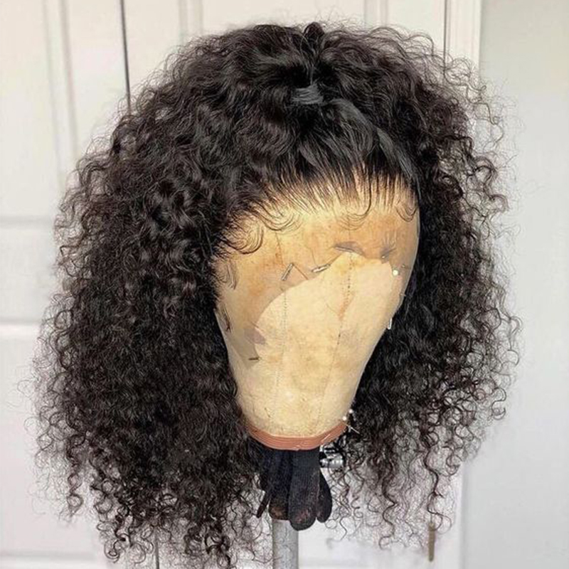 Curly Lace Front Human Hair Wigs For Women Black 150 Density Short Lace Front Hair Wigs