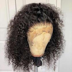Полный кружево человеческие волосы Искусственные парики для Женский, Черный Короткие Свободные Вьющиеся передние волосы на кружеве