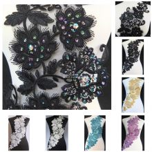 1pc x New Handmade 5Color(Black White/Silver Yellow+)Sequined Beaded 3D Flower Embroidered Lace Appliques Collars Patches BNC131(China)