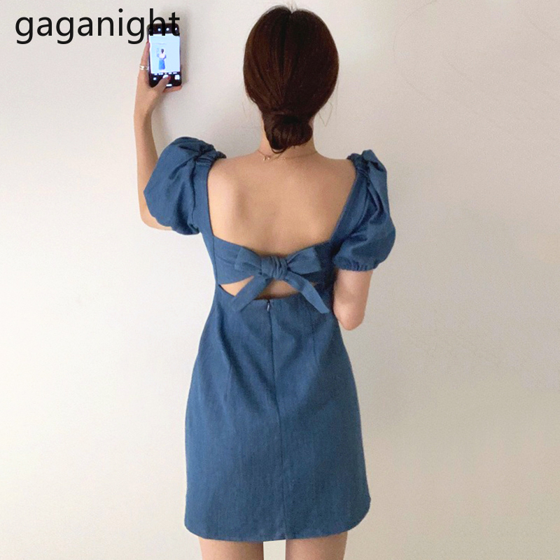 Gaganight Women Sexy Backless Bow Dress Solid Square Collar Short Sleeve Mini Short Vestidos Korean Elegant Dresses Lady Summer