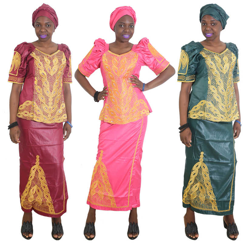 MD אפריקאי חצאיות וחולצות נשים סט אפריקאי חצאית חליפות עם gele headtie רקמה מסורתית בגדים 2020 דאשיקי שמלות