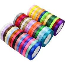 25 yardas/rollo 6mm 10mm 15mm 20mm 25mm 40mm 50mm cinta de satén de seda para manualidades DIY envoltura de regalos de navidad suministros
