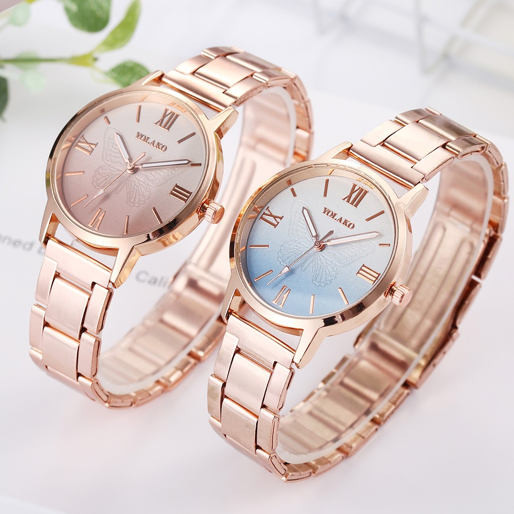 YOLAKO Women Watches Ladies Watch Fashion Gold Frosted Stainless Steel Belt Ladies Quartz Wristwatch часы женские Reloj Mujer /d