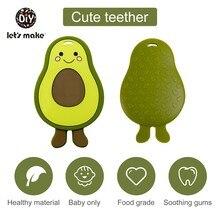 Lassen sie Machen 1PC Silikon Beißring Für Zähne Avocado DIY Baby Beißring Nagetier BPA FREI Schnuller Anhänger Kaugummi pflege Tiny Stange