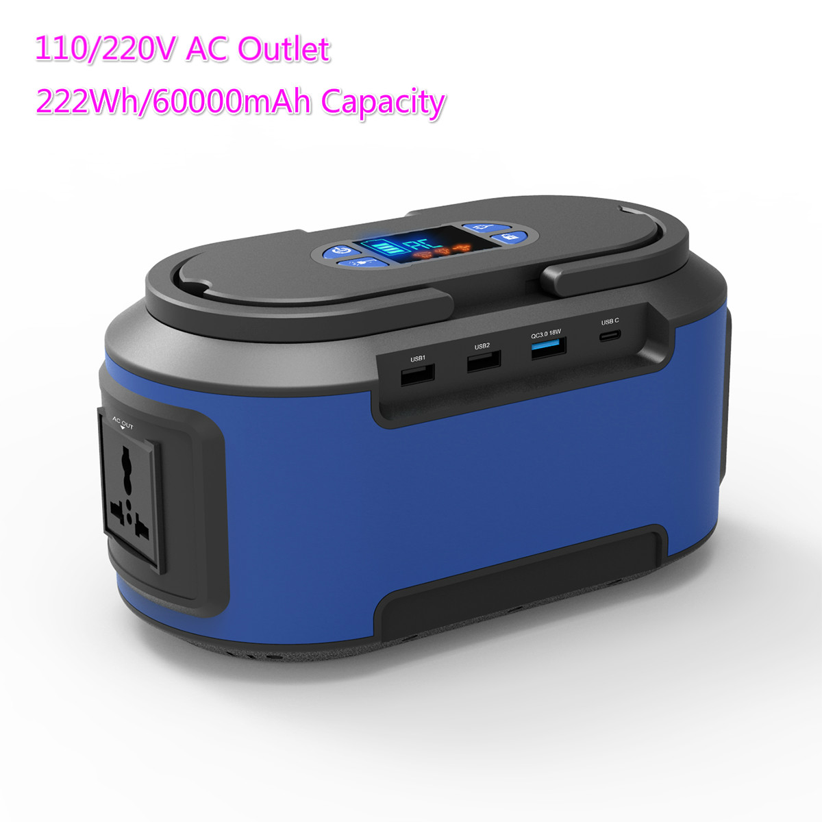 Portable Power Station,60000mAh/222Wh Power Bank 110V/220V External Backup Battery For CPAP Outdoors Camping Travel Fishing Hunt