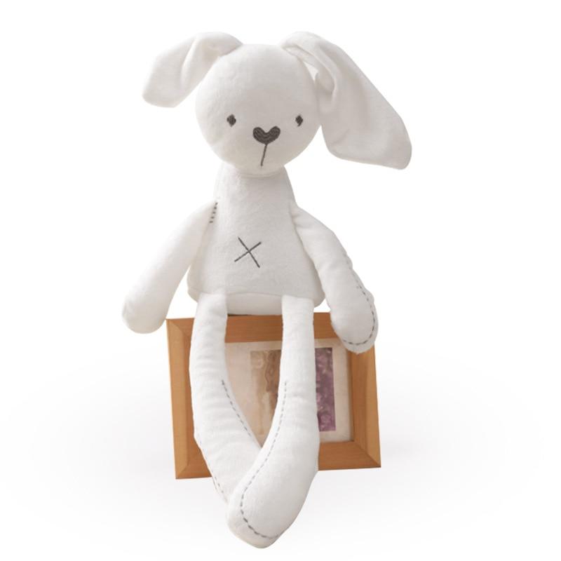 Conforto do sono do bebê calmante super suave curto veludo fino ambientalmente amigável pp algodão branco mama coelho boneca brinquedo recheado