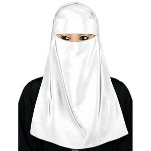Image 4 - Müslüman başörtüsü İslam peçe Burqa Burka Niqab Nikab kadınlar katı renk Amira eşarp şapkalar arap namaz türban başörtüsü kapak