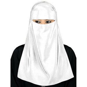 """Image 4 - Мусульманский хиджаб мусульманская вуаль паранджи никаб Nikab Для женщин однотонные Цвет шарф """"Амира"""" Головные уборы арабский молитва хиджаб платок крышка"""