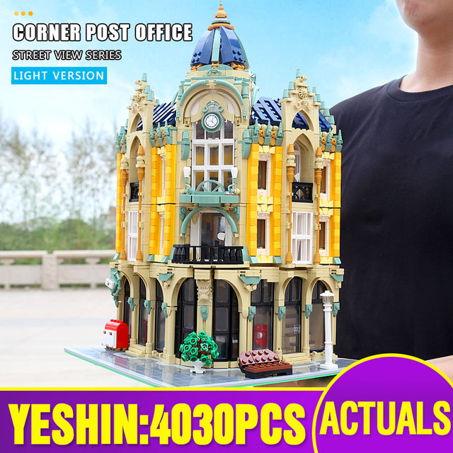 MOC 15002 15003 Street View Building Compatible With 10182 Cafe Conrner Led Light Model Building Blocks Kids Christmas Toys Gift