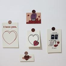 Вишневая поздравительная открытка в форме сердца двусторонняя