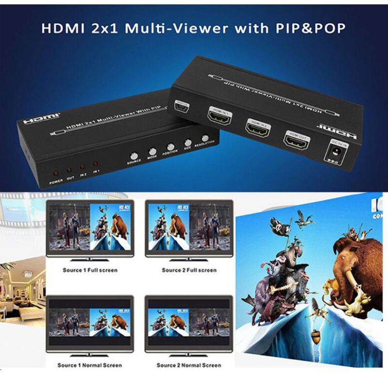 2 Port HDMI 2X1 Multi-viewer Seamless Switch Picture Screen Divider Division PIP POP Converter 4 Mode HDMI Show One HDTV Display