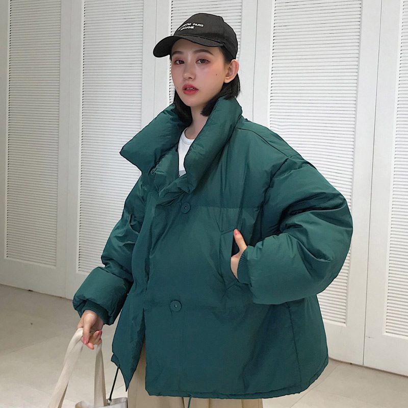 2019 Winter Thicken Warm Women's   Parka   Jacket Stand Collar Cotton Padded Woman Coat Casual Pockets Female Blown Jackets Coats