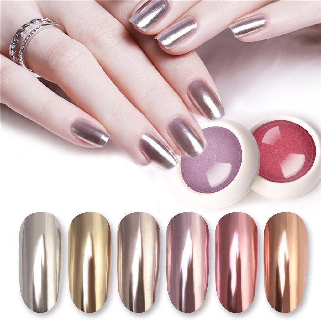 1 Box Gold Mirror Powder Chrome Effect Nail Polish Foil Nails Art
