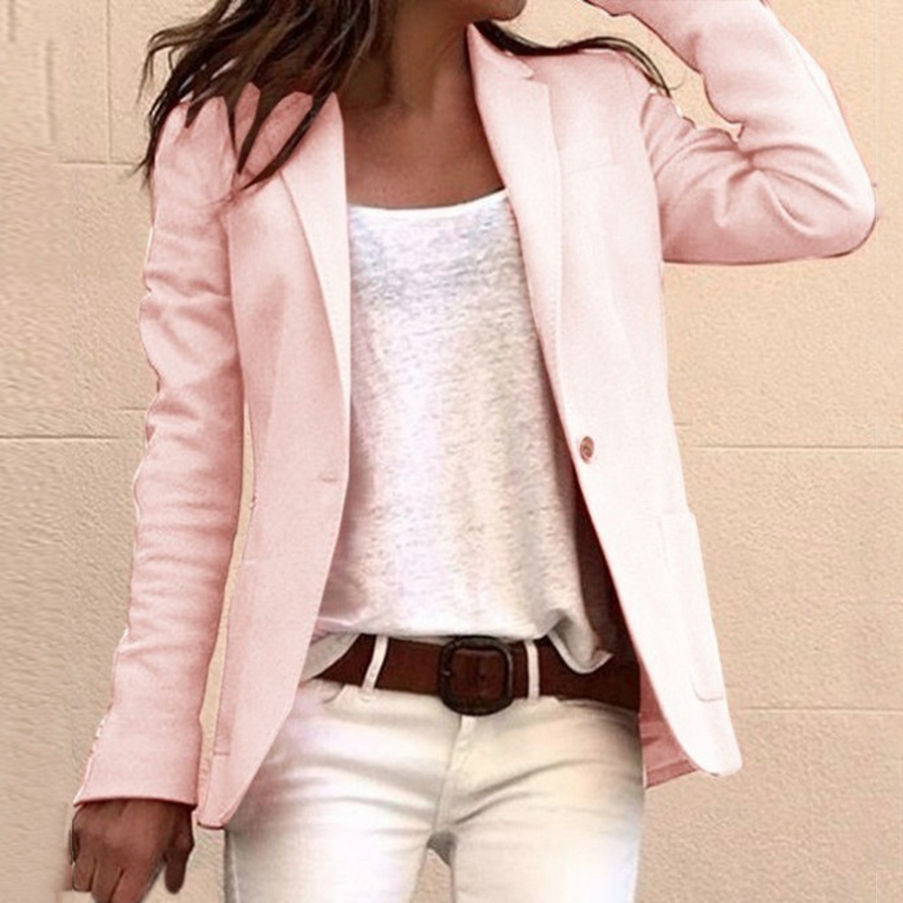 Laamei Women Fashion Long Sleeve Candy Colors Slim Office Blazer Mujer 2020 Autumn Casual Thin Blazers Suit Jackets Solid Coat