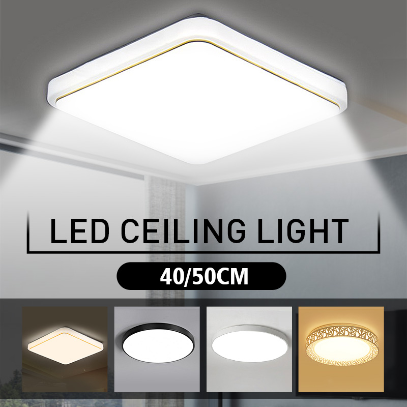 Smuxi LED Ceiling Lights 40/50CM Modern Lamp Square Flush Mount Fixture Lighting for Living Room Bedroom Kitchen Study Balcony