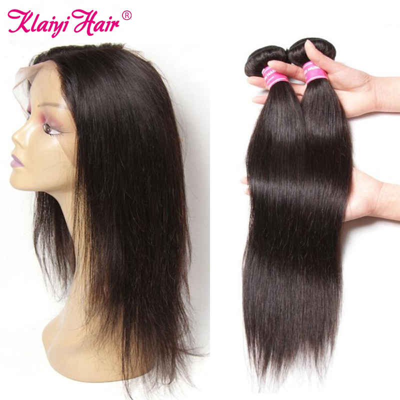 Klaiyi Hair Brazilian 360 Lace Frontal Closure With 2 Bundles Straight Human Hair Bundles With Closure Remy Hair Extensions