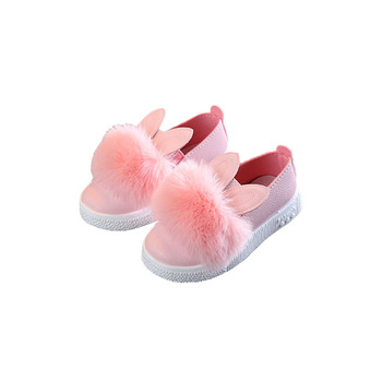 2021 Spring Soft Fur Leather Baby Girls Shoes Slip on Kids Flats Outdoor Casual Children Shoes Girls Cute Rabbit Sneaker B07031 kids shoes spring girls pu leather sneaker boy flats children shoes waterproof boots kids girls sneakers for girls trainers 838d