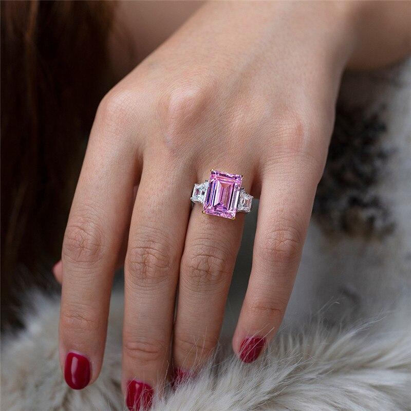 Choucong bijoux fins 100% vrais 925 bagues en argent Sterling pour femmes Emerld cut 6ct Sona Diamon cz bague de fiançailles de mariage - 6