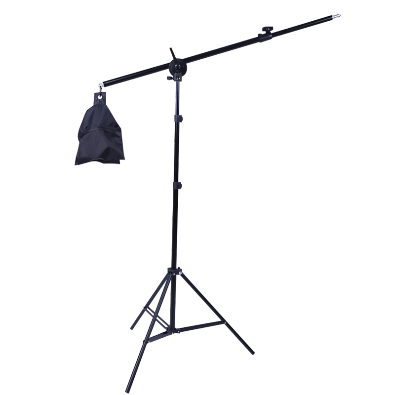 Photo Studio 2M 2-in-1 Light Stand With 1.4M Boom Arm And Empty Sandbag For Supporting Softbox Lighting Photography Tripod