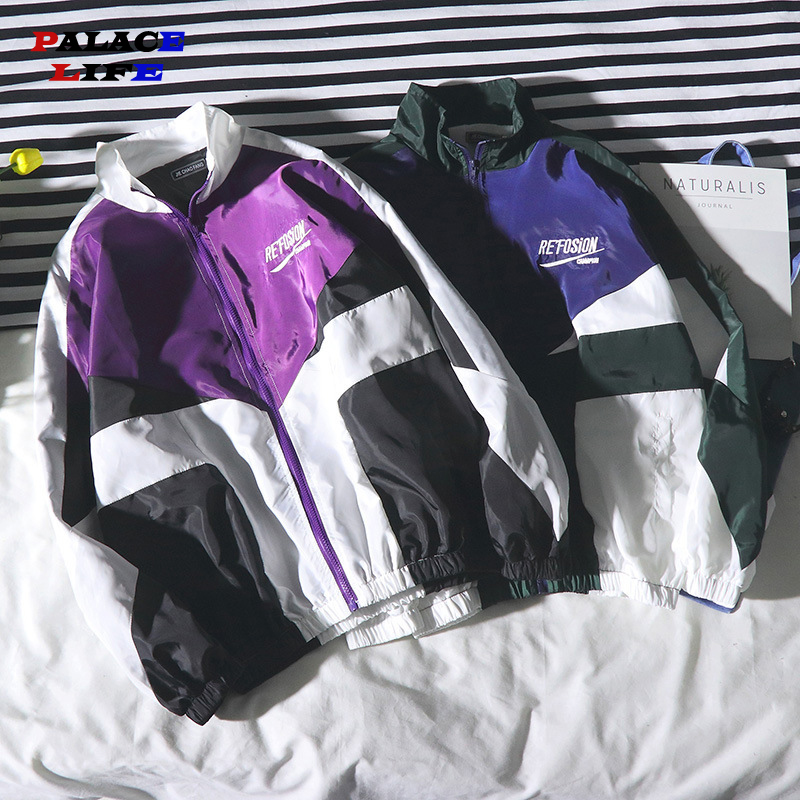 Hip Hop Spring Jackets Men Windbreaker Patchwork Autumn Loose Casual Jacket Couple Thin Jacket Loose Large Size Zipper Coat
